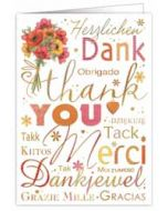 wenskaart A4 - thank you, merci, tack, dankjewel, gracias