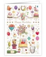 wenskaart A4 - happy birthday - gebak, slingers, champagne