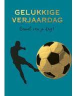 grote verjaardagskaart A4 - gelukkige verjaardag - voetbal