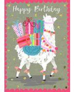 grote verjaardagskaart A4 - happy birthday - lama