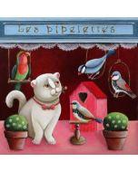 vierkante ansichtkaart gwenaëlle trolez - kat bij vogels