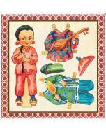 vierkante ansichtkaart gwenaëlle trolez - aankleedpop - oosters meisje