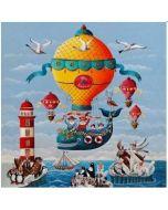 vierkante ansichtkaart gwenaëlle trolez - luchtballon - dieren
