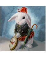 ansichtkaart met envelop gwenaëlle trollez - konijn uit alice in wonderland
