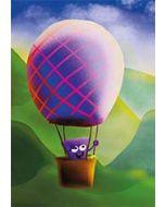 ansichtkaart -  hophew in luchtballon