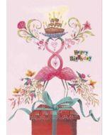 grote verjaardagskaart A4 - izou - happy birthday - flamingo