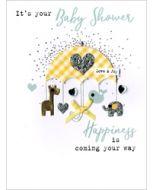 wenskaart zwanger - it is your baby shower happiness is coming your way