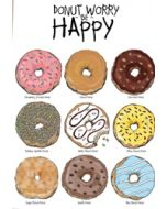 wenskaart mouse & pen - donut worry be happy