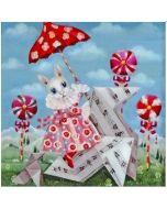 vierkante ansichtkaart gwenaëlle trolez - konijn in jurk bij lolly's