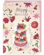 wenskaart correspondances - happy birthday - taart