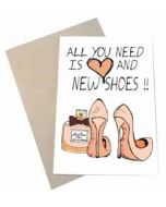 wenskaart mouse & pen - all you need is ❤ and new shoes