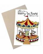 wenskaart mouse & pen - life is like a merry go round so hang on tight - draaimolen