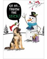luxe kerstkaart crackerjack - throw the stick - herdershond en sneeuwpop