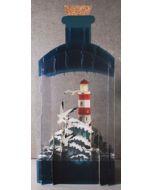 message in a bottle - 3d art kaart - vuurtoren op zee