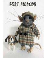 santoro tiny squee mousies wenskaart - best friends