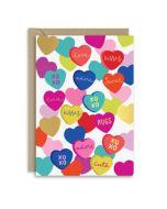 verjaardagskaart new graphics - xoxo, adore, kisses - hartjes