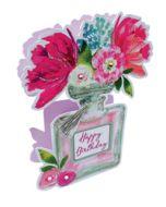 3d wenskaart paper dazzle - happy birthday - parfum flesje met bloemen