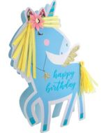 3d wenskaart paper dazzle - happy birthday - eenhoorn