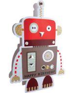 3d wenskaart paper dazzle - happy birthday - robot