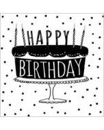 verjaardagskaart  piano handwriting - happy birthday - taart