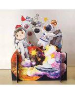 3d pop up kinderkaart - ruimte raket