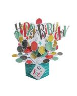 3D verjaardagskaart - pop ups - happy birthday to you - ballonnen