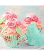 retro wenskaart busquets - cupcakejes met rozen en hart