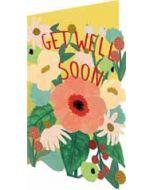 lasergesneden wenskaart roger la borde -  get well soon - bloemen