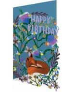 lasergesneden wenskaart roger la borde -  happy birthday - vos