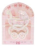 3D geboortekaart - swing cards - kinderwagen roze