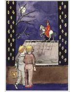 sinterklaaskaart - retro ansichtkaart - sinterklaas op zijn paard op het dak