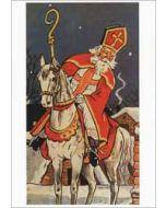 sinterklaaskaart - retro ansichtkaart - sinterklaas op zijn paard