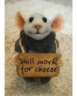 santoro tiny squee mousies wenskaart - will work for cheese