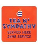 tinnen koelkastmagneet - tea n' sympathy served here 24hr service