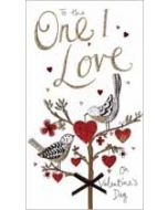 grote luxe handgemaakte valentijnskaart - to the one I love on valentines day - vogels