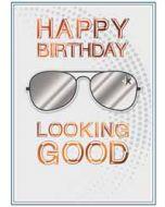 verjaardagskaart copper - happy birthday looking good - bril