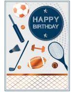 verjaardagskaart copper - happy birthday - tennis voetbal golf rugby