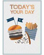 verjaardagskaart copper - today's your day - hamburger patat pizza