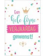 verjaardagskaart - een hele fijne verjaardag gewenst - kroontje