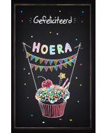 wenskaart - gefeliciteerd hoera - cupcake