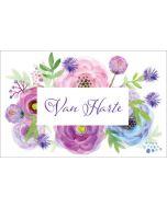 wenskaart - van harte - bloemen ranonkels