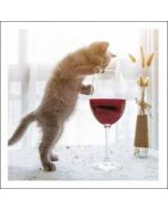 wenskaart woodmansterne - kitten met wijnglas