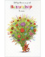 wenskaart - dit bosje bloemen om je beterschap te wensen - kat
