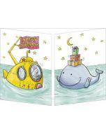 uitklapbare verjaardagskaart cache-cache - happy birthday - konijn in onderzeeër