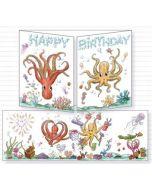 uitklapbare wenskaart cache-cache - happy birthday - octopussen