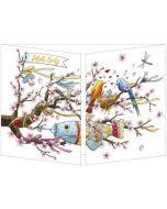 uitklapbare wenskaart cache-cache - hello baby - vogels