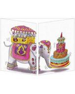 uitklapbare verjaardagskaart cache-cache - olifant, muizen en taart