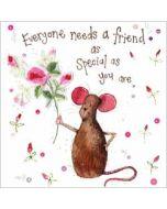 wenskaart alex clark - everyone needs a friend - muis