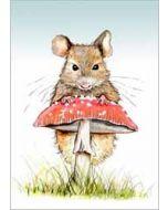 wenskaart cath ward - muis en paddenstoel