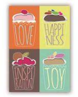 wenskaart quire - love, happiness, inspiration, joy - cupcakes